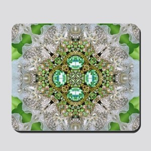green diamond bling Mousepad