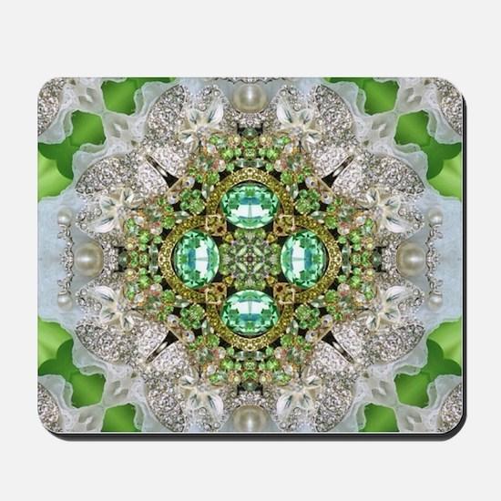 green diamond bling Mousepad