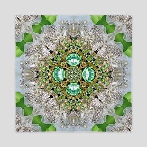 green diamond bling Queen Duvet