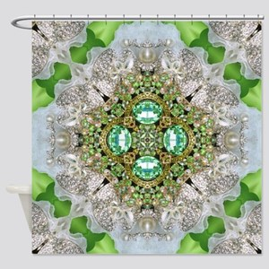green diamond bling Shower Curtain