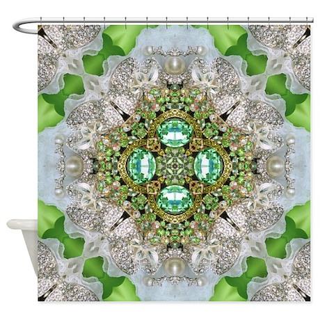 Green Diamond Bling Shower Curtain By ADMIN CP62325139