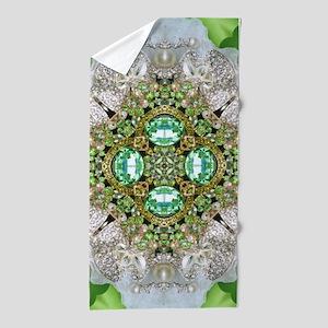 green diamond bling Beach Towel