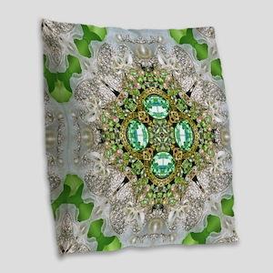 green diamond bling Burlap Throw Pillow