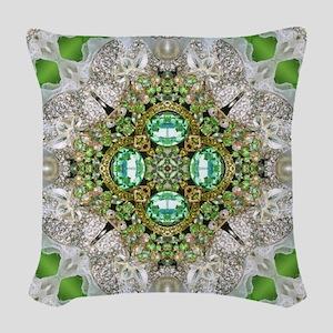 green diamond bling Woven Throw Pillow