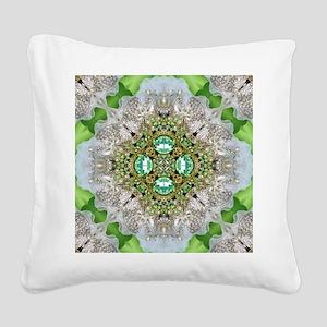 green diamond bling Square Canvas Pillow