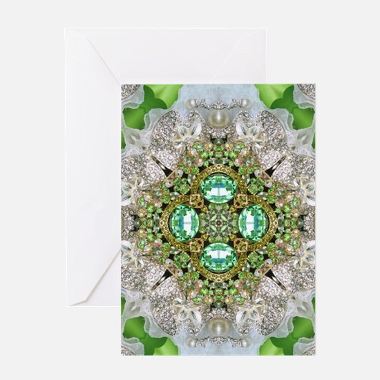 green diamond bling Greeting Cards