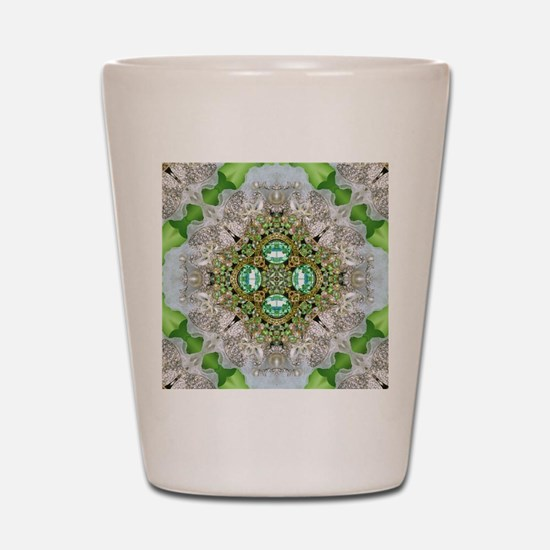 green diamond bling Shot Glass