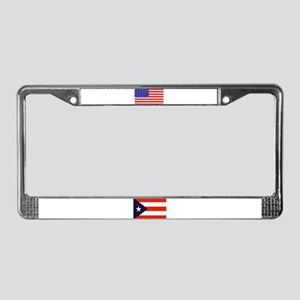 Puerto Rican & USA Flags License Plate Frame