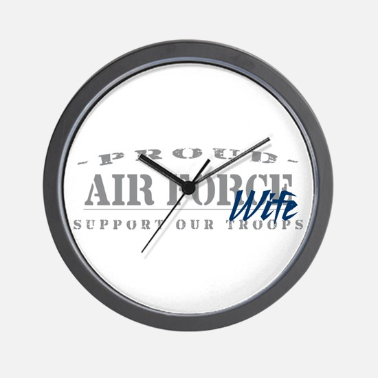 Proud Air Force Wife 2 (Blue) Wall Clock