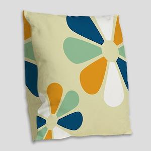 Retro Flowers Burlap Throw Pillow