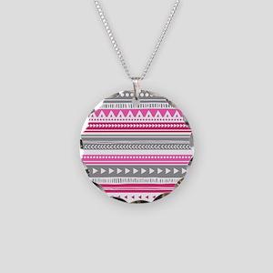 Pink Grey Geometric Vintage Necklace Circle Charm
