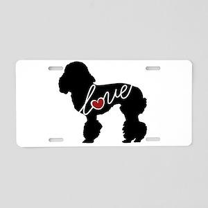 Poodle Love Aluminum License Plate