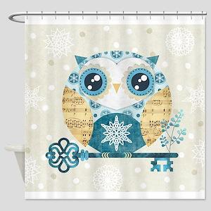 Winter Wonderland Owl Shower Curtain