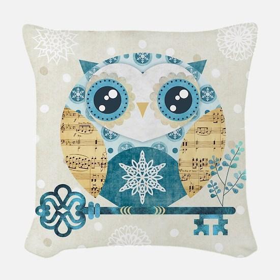 Winter Wonderland Owl Woven Throw Pillow