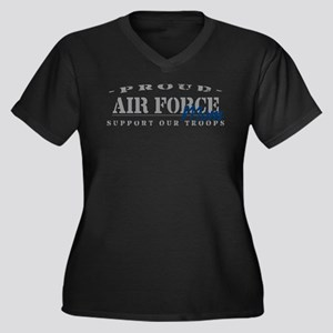 Proud Air Force Mom (Blue) Women's Plus Size V-Nec