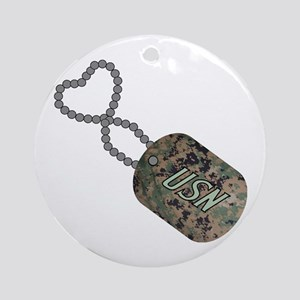 Dog Tag USN Ornament (Round)
