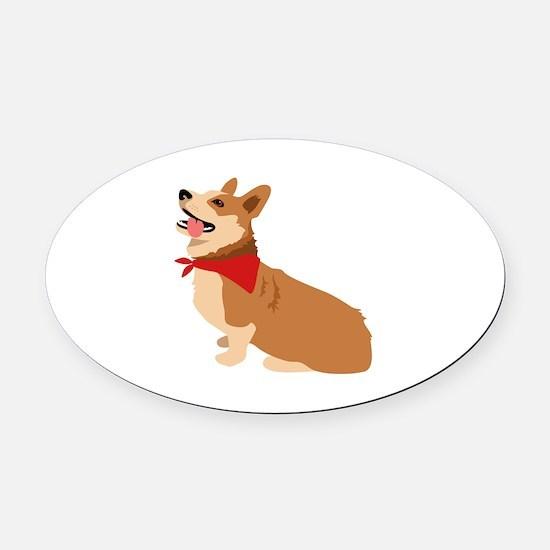 Corgi Dog Oval Car Magnet