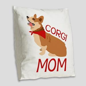 Corgi Mom Burlap Throw Pillow