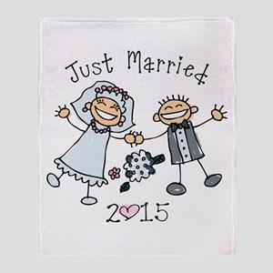 Stick Just Married 2015 Throw Blanket