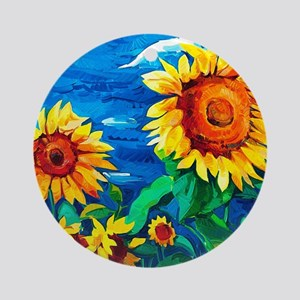 Sunflowers Painting Ornament (Round)