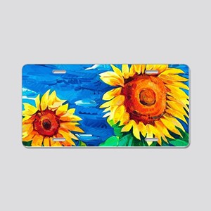 Sunflowers Painting Aluminum License Plate