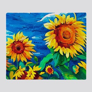 Sunflowers Painting Throw Blanket