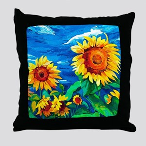 Sunflowers Painting Throw Pillow