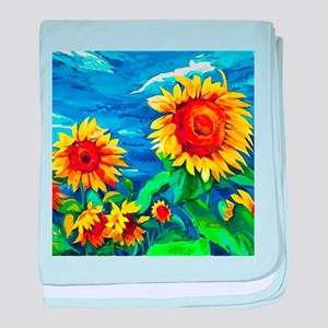 Sunflowers Painting baby blanket