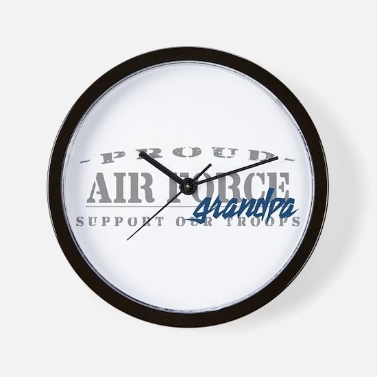 Proud Air Force Grandpa (Blue) Wall Clock