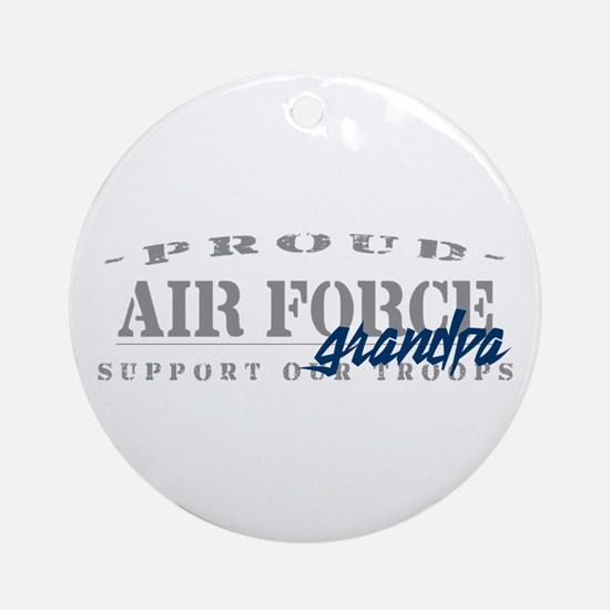 Proud Air Force Grandpa (Blue) Ornament (Round)