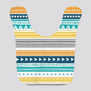 Yellow Blue Grey Geometric Vintage Stripes Bib