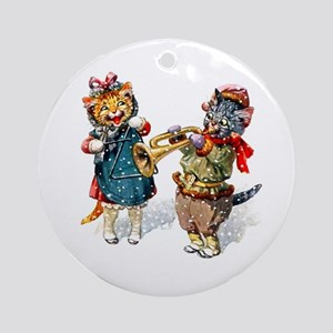 Kittens Play Music In the Snow Ornament (Round)