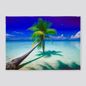 Lone Palm Tree 5'x7'Area Rug