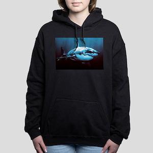 Battle-Scarred Great Whi Women's Hooded Sweatshirt