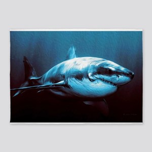 Battle-Scarred Great White Shark 5'x7'Area Rug