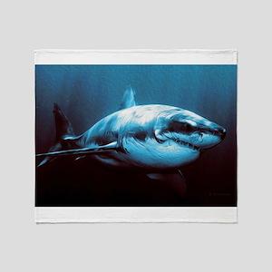 Battle-Scarred Great White Shark Throw Blanket