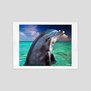 Dolphin Profile 5'x7'Area Rug