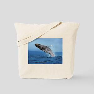 Humpback Whale Leap Tote Bag