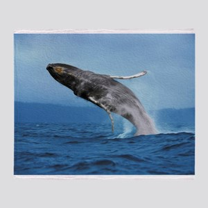 Humpback Whale Leap Throw Blanket