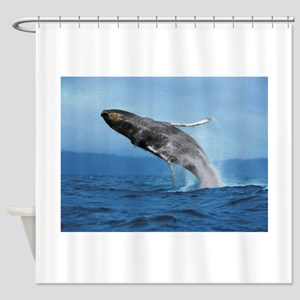 Humpback Whale Leap Shower Curtain