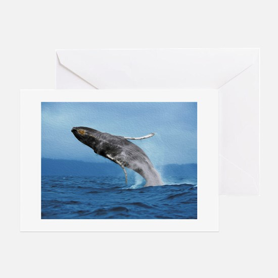 Humpback Whale Leap Greeting Card