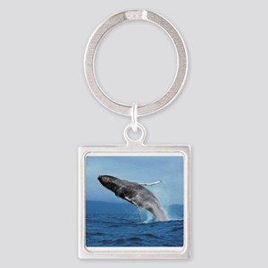 Humpback Whale Leap Square Keychain