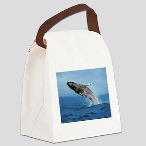 Humpback Whale Leap Canvas Lunch Bag