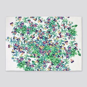 Pansy Flowers Floral Botanical 5'x7'Area Rug