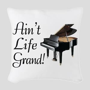 Ain't Life Grand Piano Woven Throw Pillow