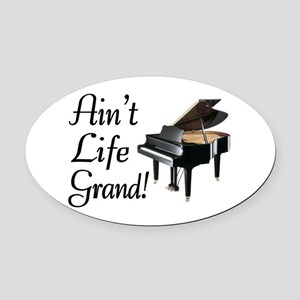 Ain't Life Grand Piano Oval Car Magnet