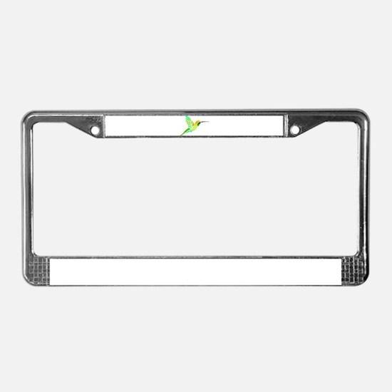 Lemon Lime Sorbet Hummingbird License Plate Frame