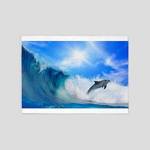 Dolphin Surf 5'x7'Area Rug