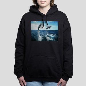 Twin Dolphins Women's Hooded Sweatshirt
