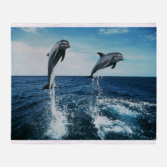 Twin Dolphins Throw Blanket